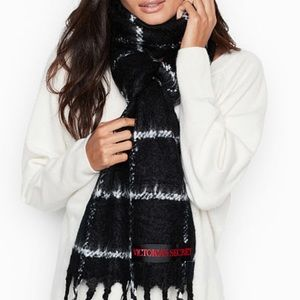 Victoria's Secret black plaid scarf
